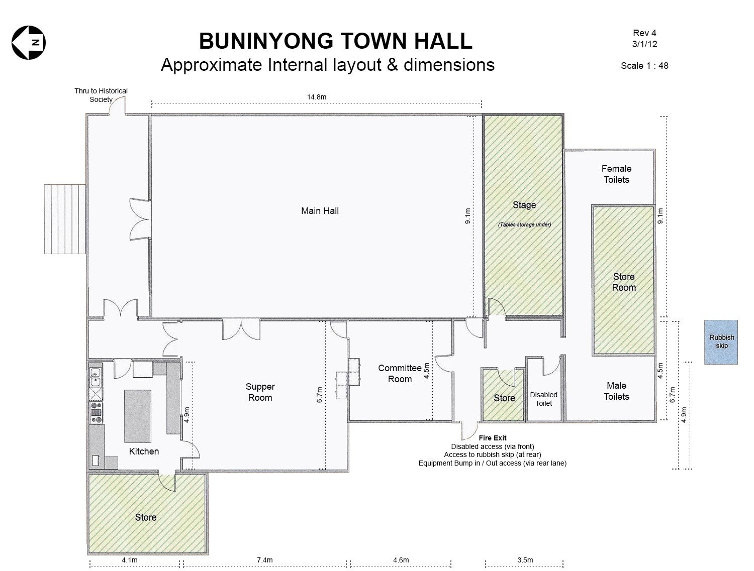 floor plan u2013 buninyong town hall